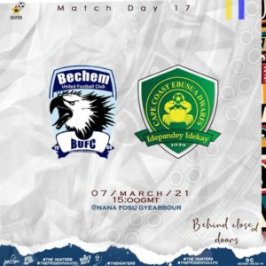 20/21 Ghana Premier League: Bechem United v Ebusua Dwarfs matchday 17 preview
