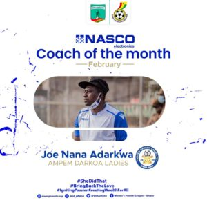 Women's Premier League: Joe Nana Adarkwa, Suzzy Dede Teye named NASCO Coach and Player of the Month for February