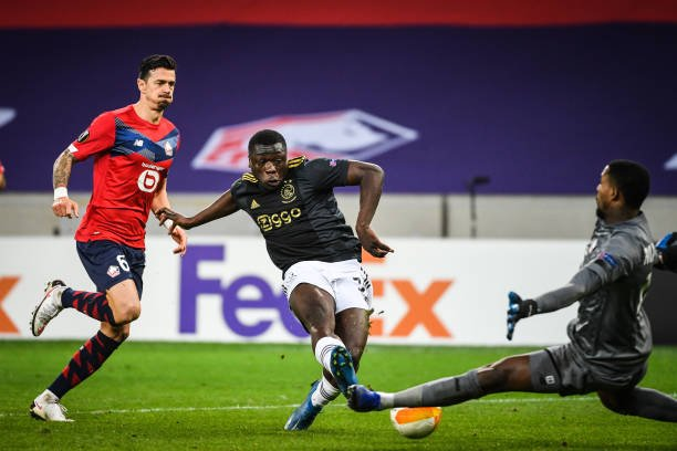 Ghanaian striker Brian Brobbey sees his goal against Lille win Ajax goal of the month award