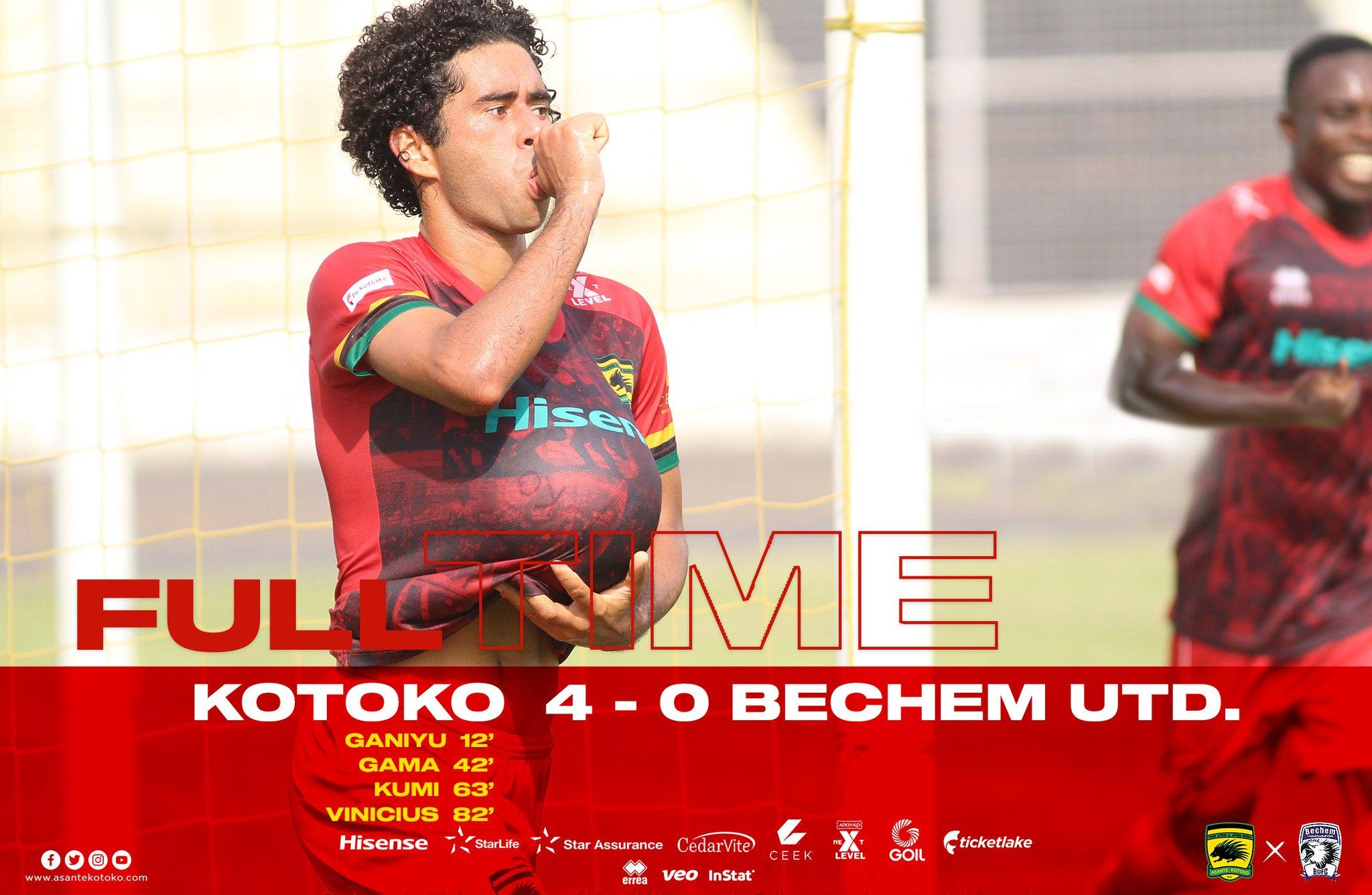 20/21 Ghana Premier League: Kotoko moves to third after big win against Bechem Utd