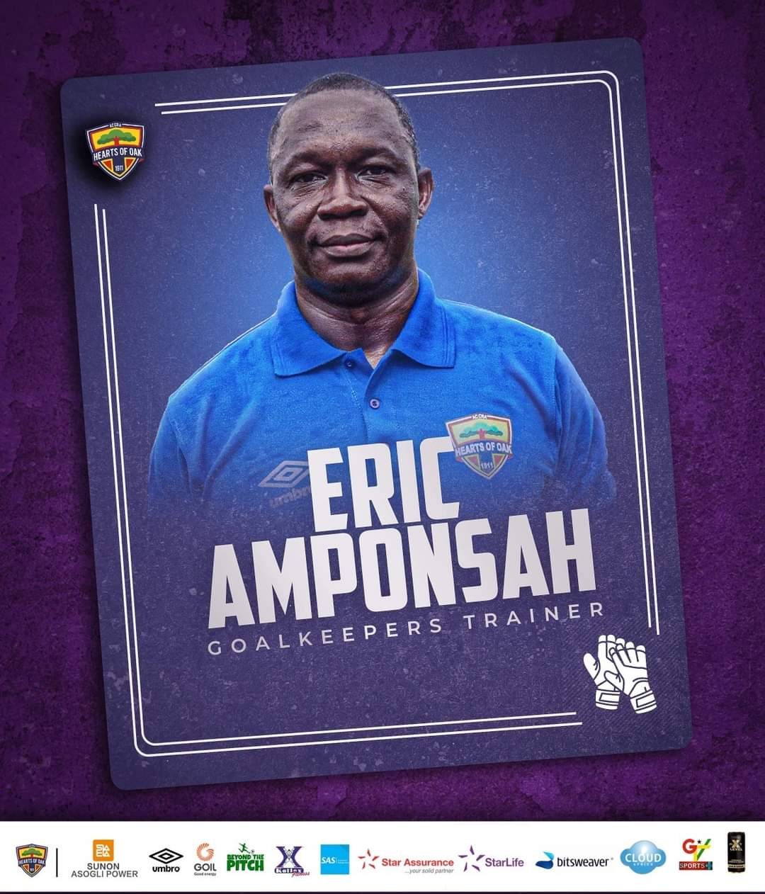 Official: Eric Amponsah named Hearts of Oak goalkeepers trainer