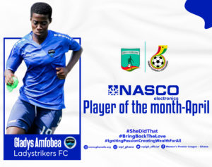 Womens Football: Gladys Amfobea wins Nasco Player of the month for April