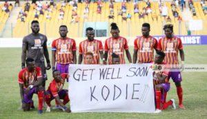 Hearts of Oak players send speedy recovery message to injured midfielder Daniel Kordie