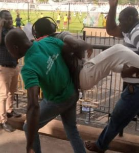 Journalist bundle out of Len Clay Stadium by Kotoko fans for saying penalty awarded against Karela United was dubious