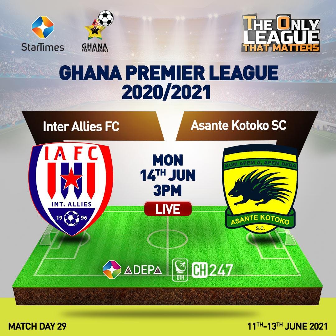 Ghana FA reschedules Inter Allies v Asante Kotoko matchday 29 fixture; check new date