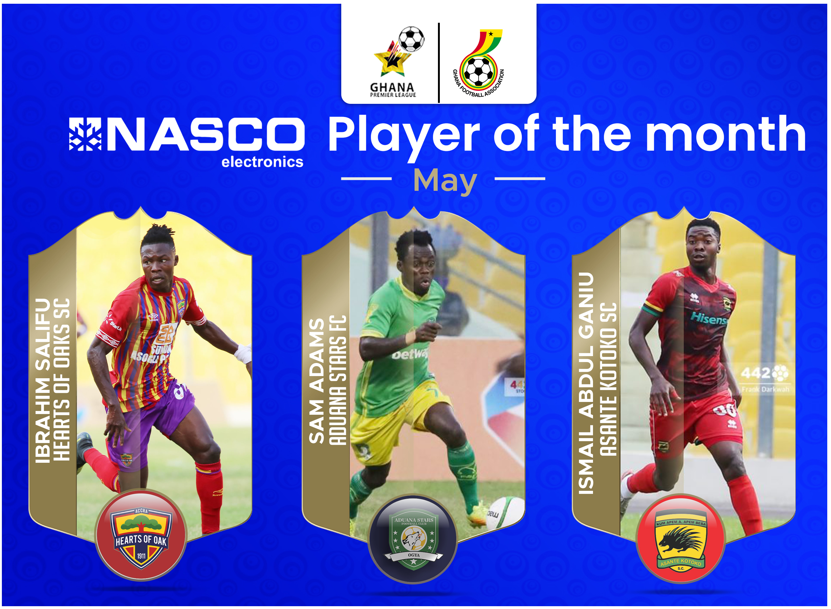 Salifu, Adams and Ganiu nominated for NASCO Player of the Month for May