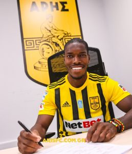 PHOTOS: Greek outfit Aris announce signing of Ghana defender Lumor Agbenyenu