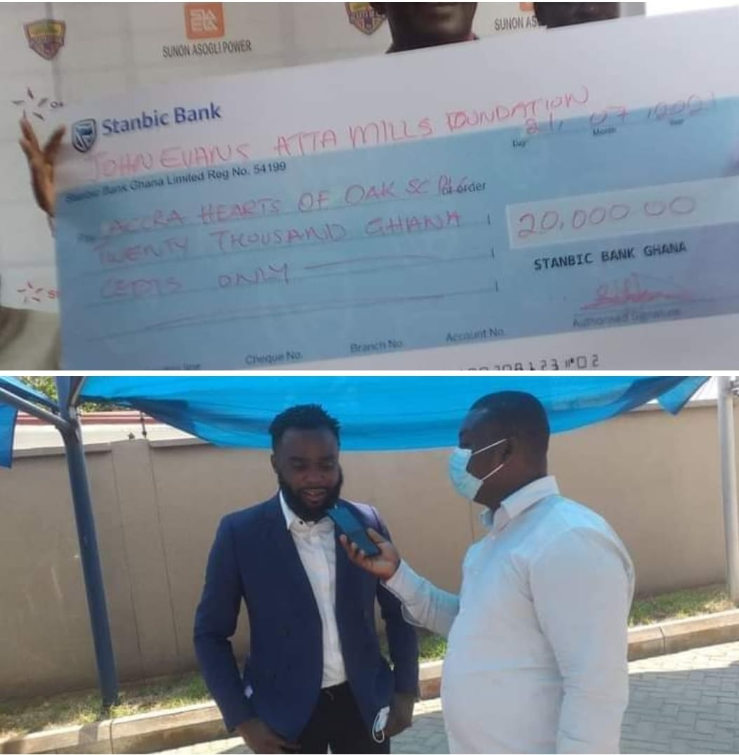 Son of the late former President JEA Mills Donates 20,000 ghc to Hearts of Oak