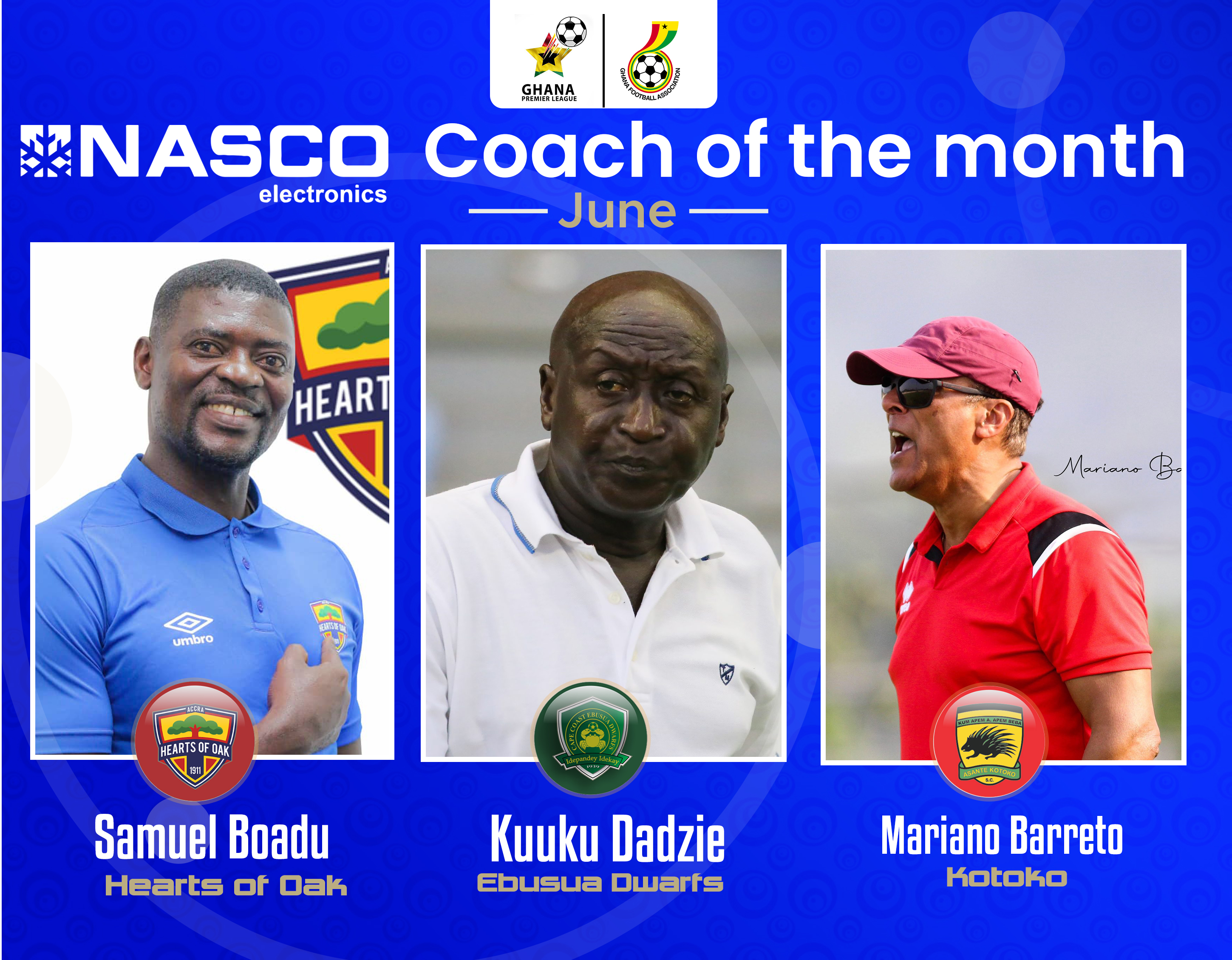 GPL: Boadu, Baretto, Dadzie nominated for NASCO Coach of the Month for June