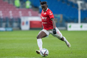 Ghana forward Yaw Yeboah sustains injury while in action for Wisla Krakow in game against Zaglebie