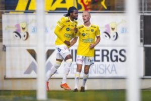Ghanaian attacker Kwame Kizito scores to earn draw for Falkenbergs FF in game against Norrby