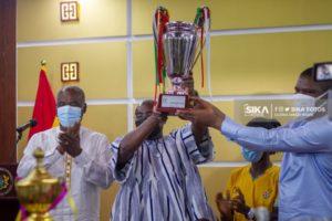 Hasaacas Ladies present WAFU B Trophy to Vice President Bawumia