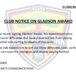Awako has personal issues- Hearts of Oak confirm
