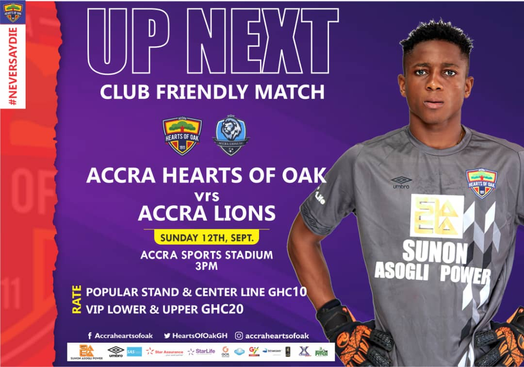 Hearts of Oak announce friendly match with Accra Lions on Sunday