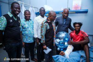 PHOTOS: Ghana FA delegation visits injured Tema Youth goalkeeper Christian Addai after surgery