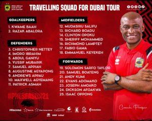 Asante Kotoko names squad for Dubai pre-season trip