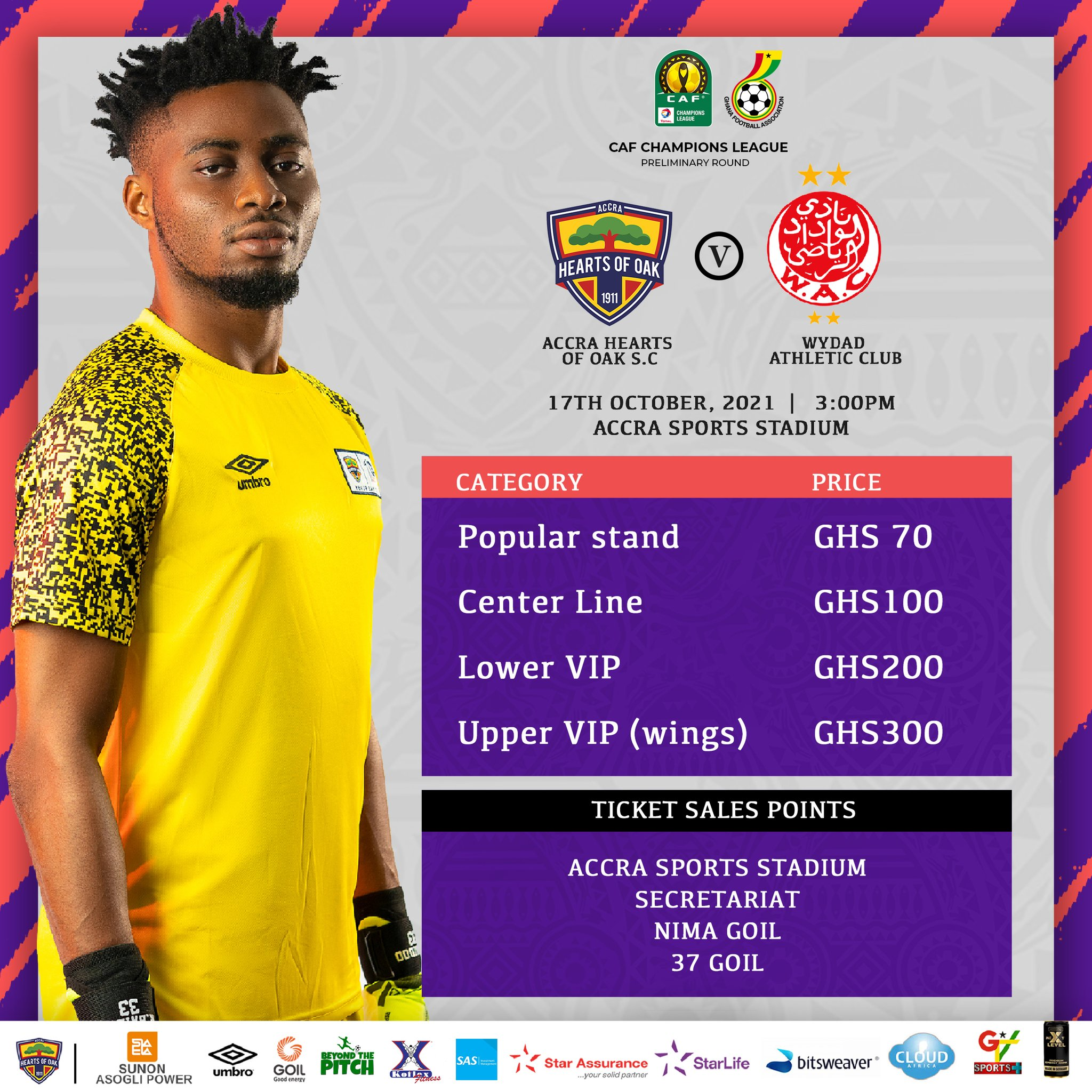CAF Champions League: Hearts of Oak announce exorbitant ticket prices for Wydad clash