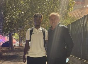 Milovan Rajevac meets Edmund Addo after FC Sheriff's defeat to Inter Milan in Champions League