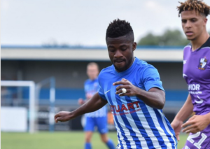 Enoch Andoh scores for Stratford Town against Long Eaton United